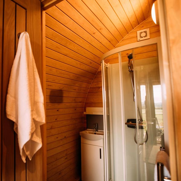 Ensuite shower room in our luxury camping pods